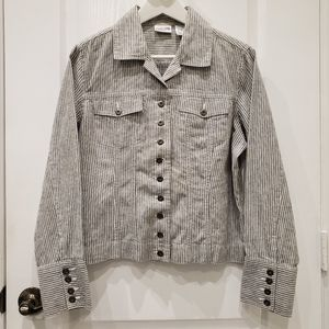CHICO'S Black and Gray Vertical Striped Jacket